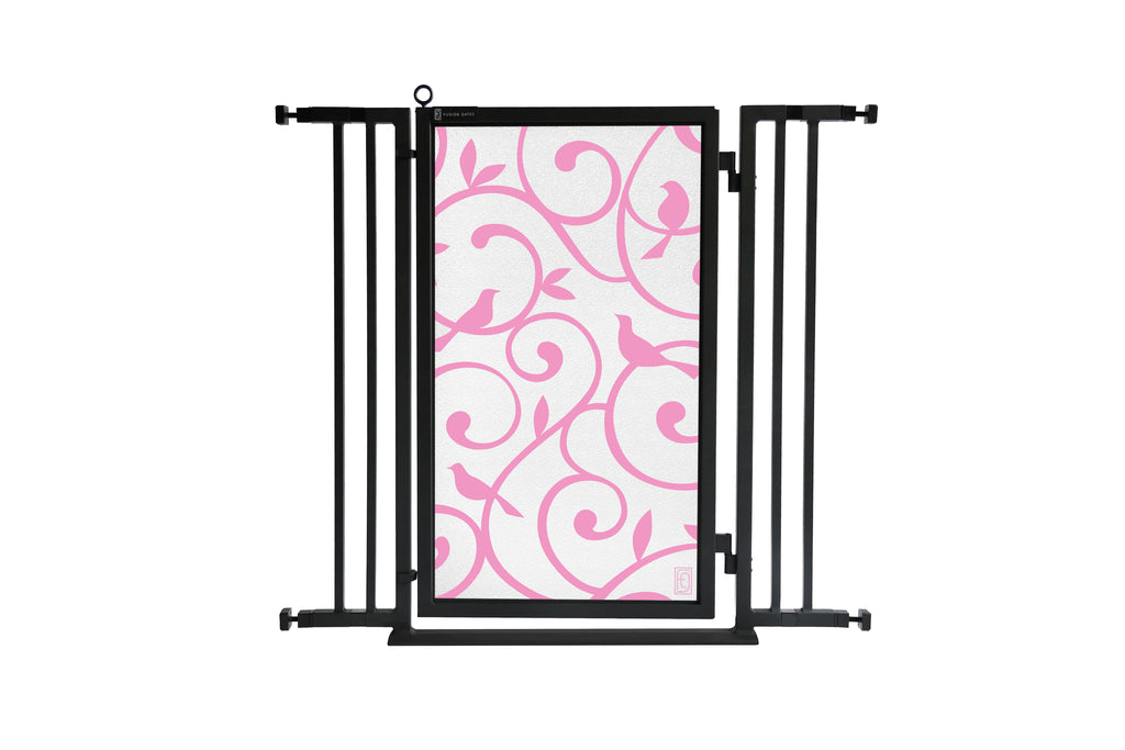 "32"" - 36"" Songbirds in Pink Fusion Gate, Black Finish"