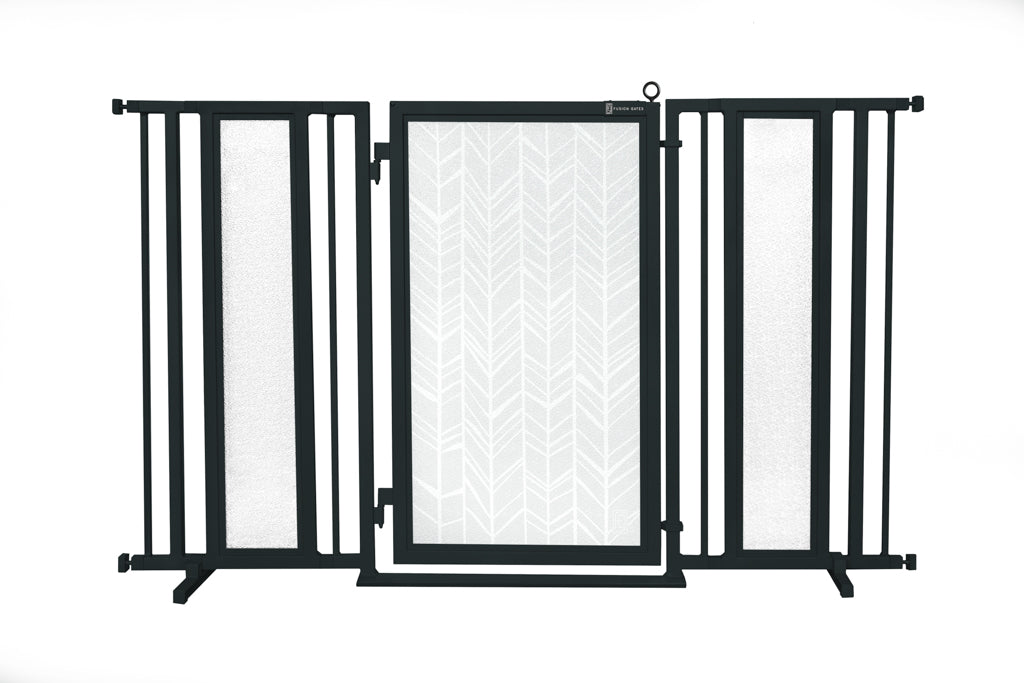 "60"" - 65"" Chevron Trail in White Fusion Gate, Black Finish"