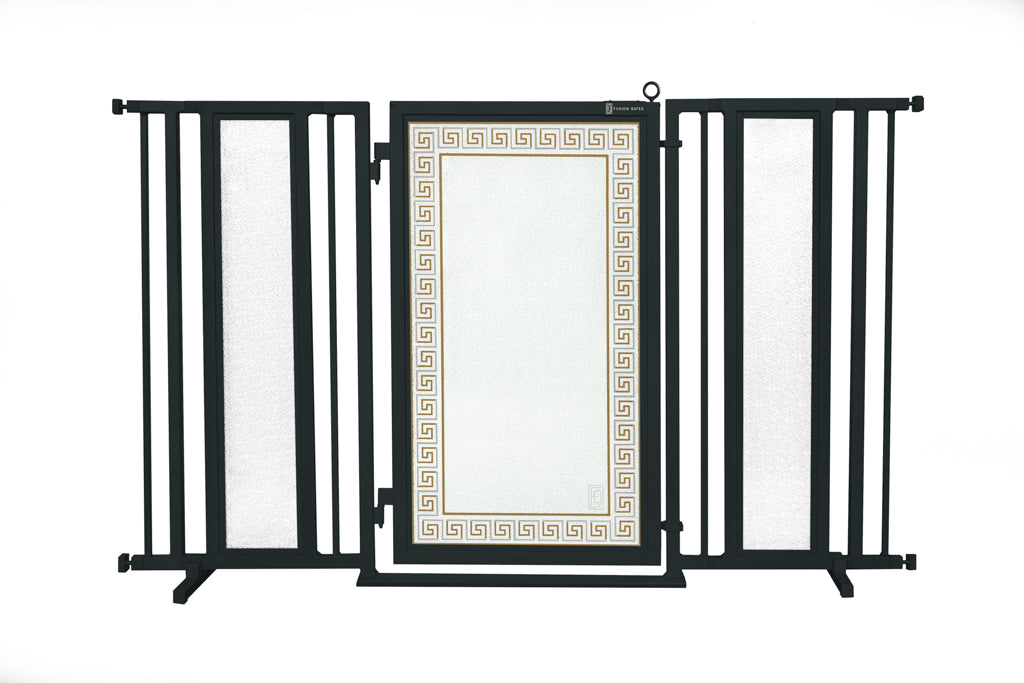 "60"" - 65"" Greek Key Fusion Gate, Black Finish"