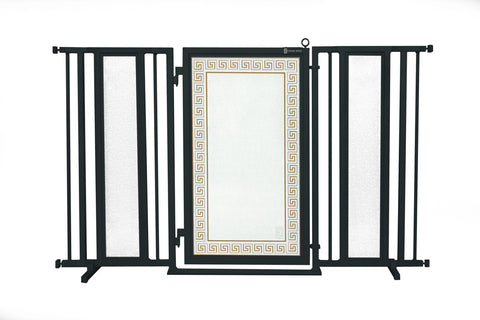 "60"" - 65"" White Garden Fusion Gate, Satin Nickel Finish"