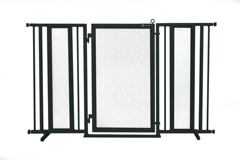 "60"" - 65"" Trellis in White Fusion Gate, Black Finish"