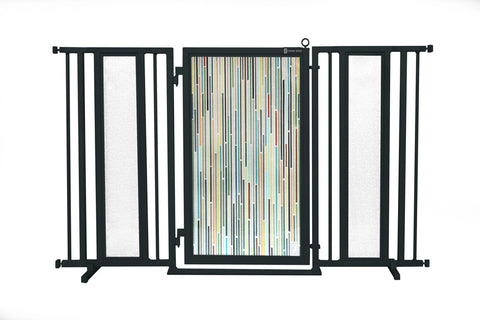 "60"" - 65"" Modern Lines Fusion Gate, Black Finish"