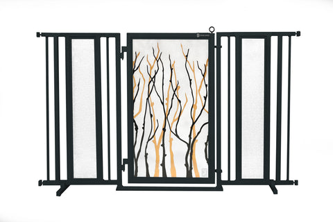 "60"" - 65"" Trellis in White Fusion Gate, Satin Nickel Finish"