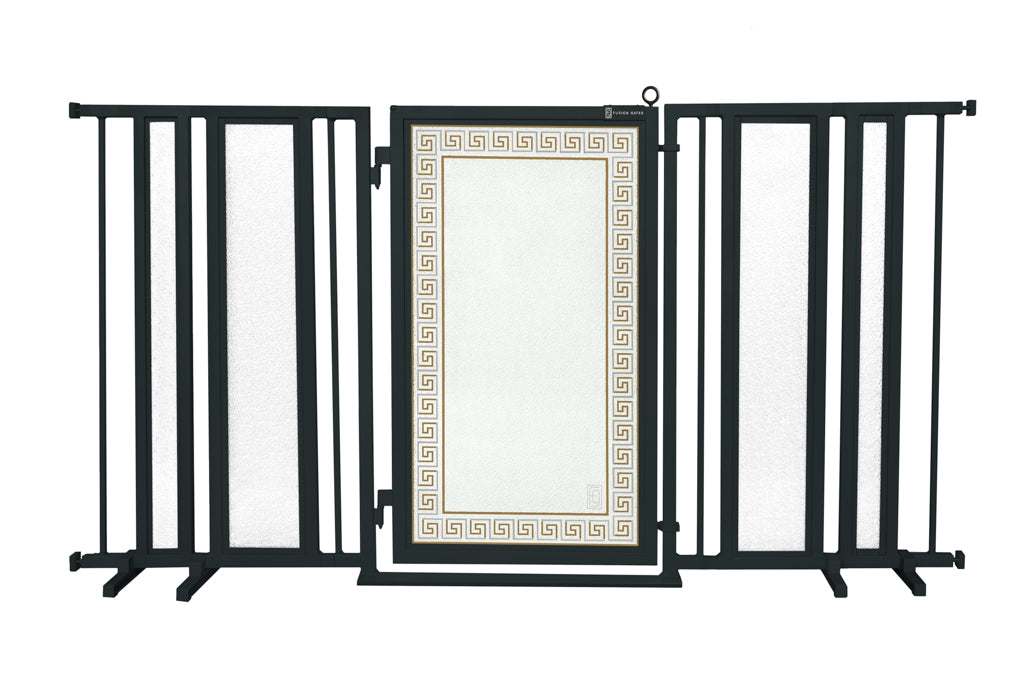 "65"" - 71.5"" Greek Key Fusion Gate, Black Finish"