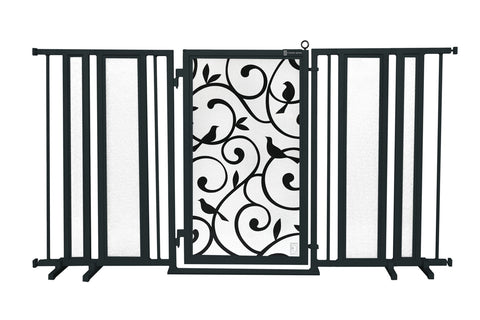 "65"" - 71.5"" Linear Lace in White Fusion Gate, Satin Nickel Finish"