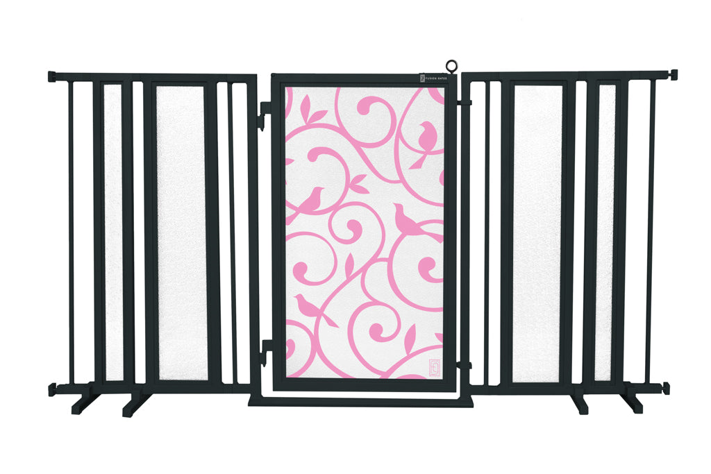 "65"" - 71.5"" Songbirds in Pink Fusion Gate, Black Finish"