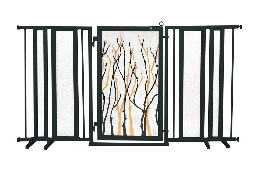 "65"" - 71.5"" Willow Branch Fusion Gate, Black Finish"