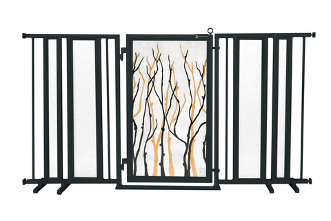 "65"" - 71.5"" Gold Lattice Fusion Gate, Black Finish"