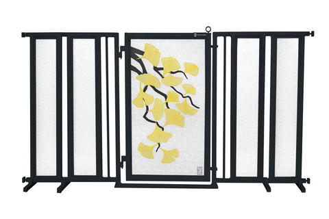 "71.5"" - 74"" Autumn Ginkgo Fusion Gate, Black Finish"