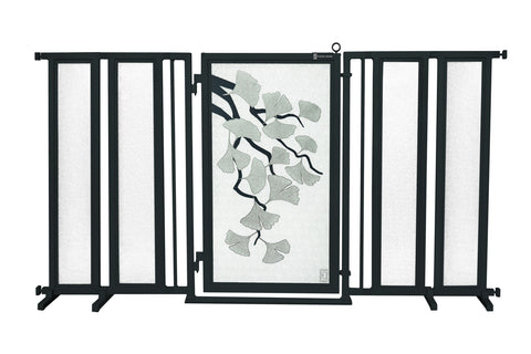 "71.5"" - 74"" Gold Lattice Fusion Gate, White Pearl Finish"