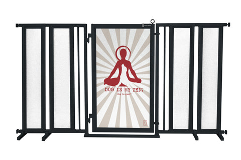 "71.5"" - 74"" Dog Is My Zen Fusion Gate, Black Finish"