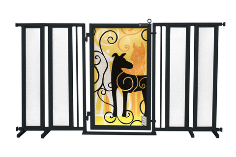"71.5"" - 74"" Dog Is My Zen Fusion Gate, White Pearl Finish"