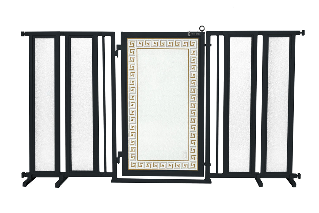 "71.5"" - 74"" Greek Key Fusion Gate, Black Finish"