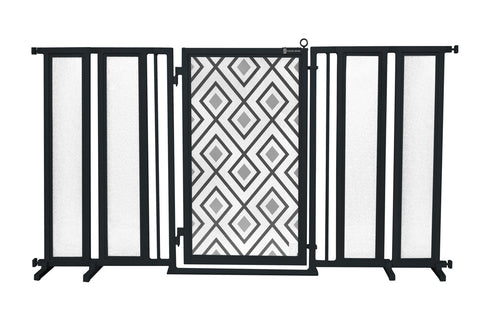 "71.5"" - 74"" Gray Diamonds Fusion Gate, Black Finish"
