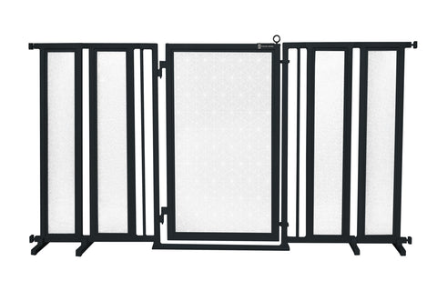 "71.5"" - 74"" Modern Lines Fusion Gate, White Pearl Finish"