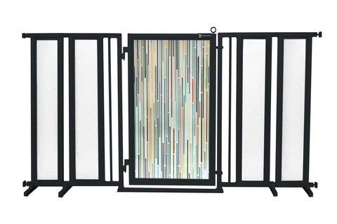 "71.5"" - 74"" Modern Lines Fusion Gate, Black Finish"