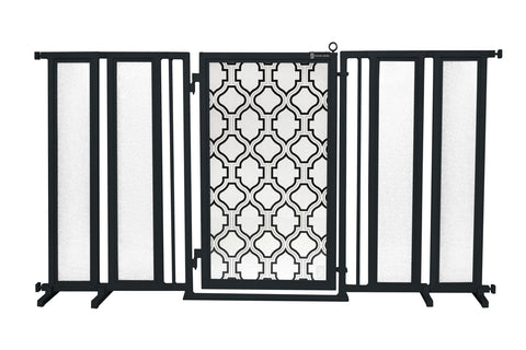 "71.5"" - 74"" Peaceful Palm Fusion Gate, Black Finish"