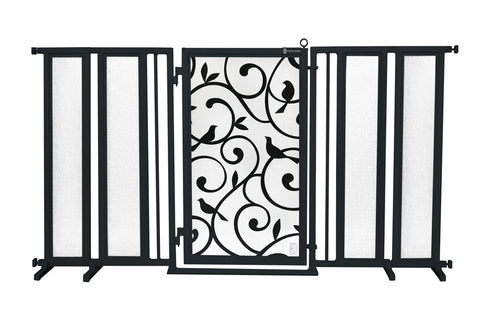 "71.5"" - 74"" White Garden Fusion Gate, Satin Nickel Finish"