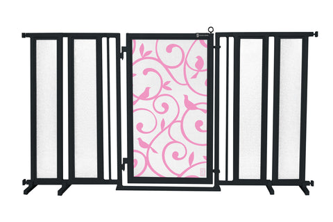 "71.5"" - 74"" Songbirds in White Fusion Gate, Satin Nickel Finish"