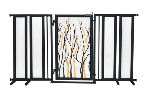 "71.5"" - 74"" Greek Key Fusion Gate, Satin Nickel Finish"