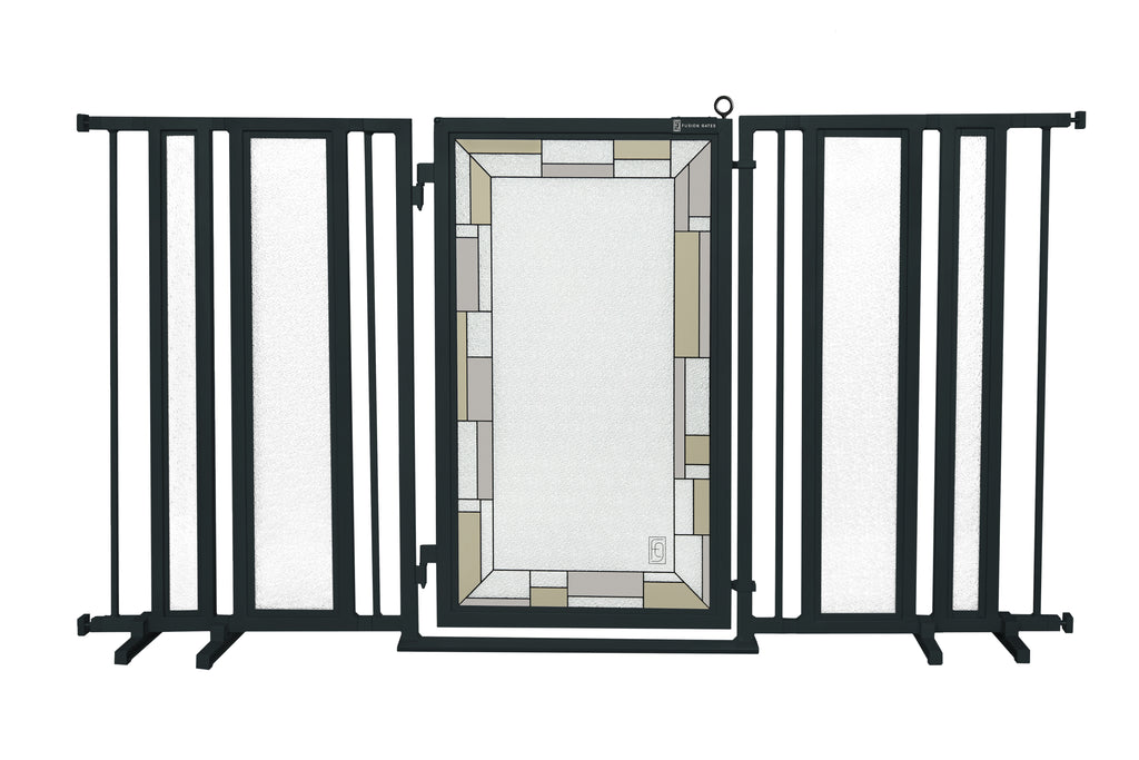 "65"" - 71.5"" Bauhaus Border Fusion Gate, Black Finish"