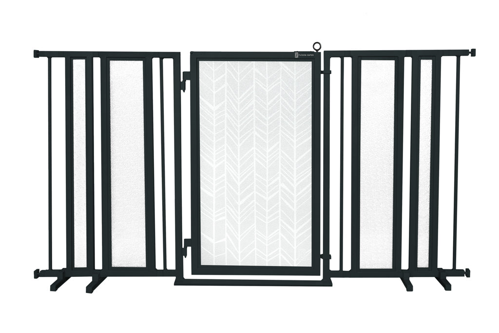 "65"" - 71.5"" Chevron Trail in White Fusion Gate, Black Finish"