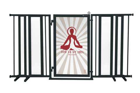 "65"" - 71.5"" Dog Is My Zen Fusion Gate, Black Finish"