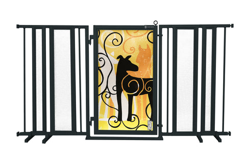 "65"" - 71.5"" Linear Lace Fusion Gate, Satin Nickel Finish"
