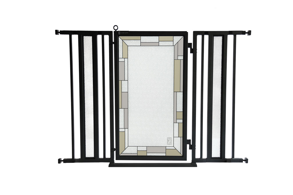 "36"" - 52"" Bauhaus Border Fusion Gates, Black Finish"