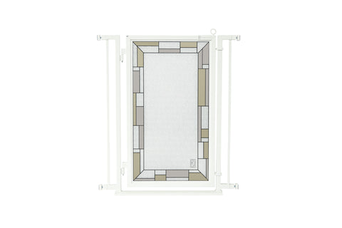 "32"" - 34"" Greek Key Fusion Gate, White Pearl Finish"
