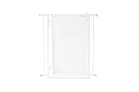 "32"" - 34"" Bauhaus Border Fusion Gate, White Pearl Finish"