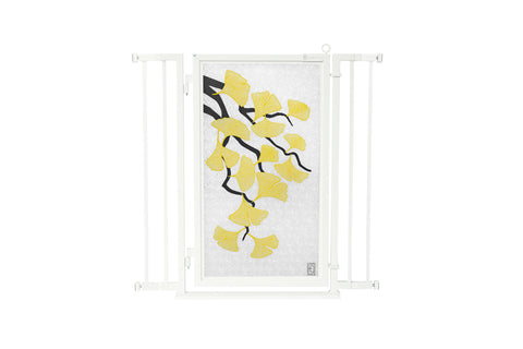 "32"" - 36"" Bauhaus Border Fusion Gate, White Pearl Finish"