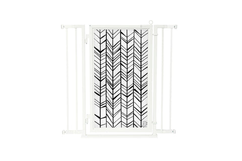 "32"" - 36"" Chevron Trail Fusion Gate, White Pearl Finish"