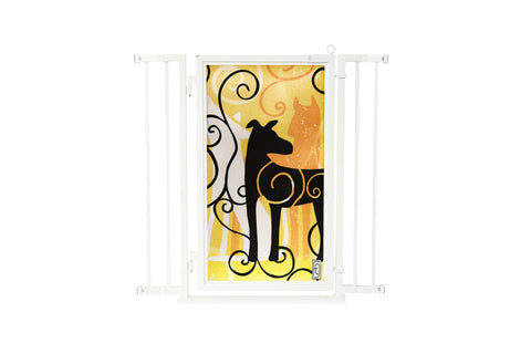 "32"" - 36"" Modern Lines Fusion Gate, White Pearl Finish"