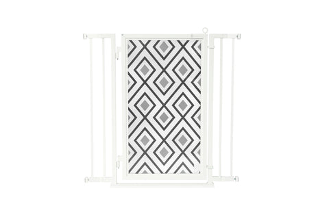 "32"" - 36"" Gray Diamonds Fusion Gate, White Pearl Finish"