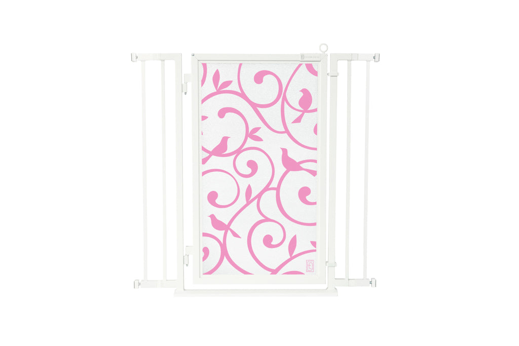 "32"" - 36"" Songbirds in Pink Fusion Gate, White Pearl Finish"