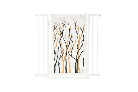 "32"" - 36"" Willow Branches Fusion Gate, White Pearl Finish"