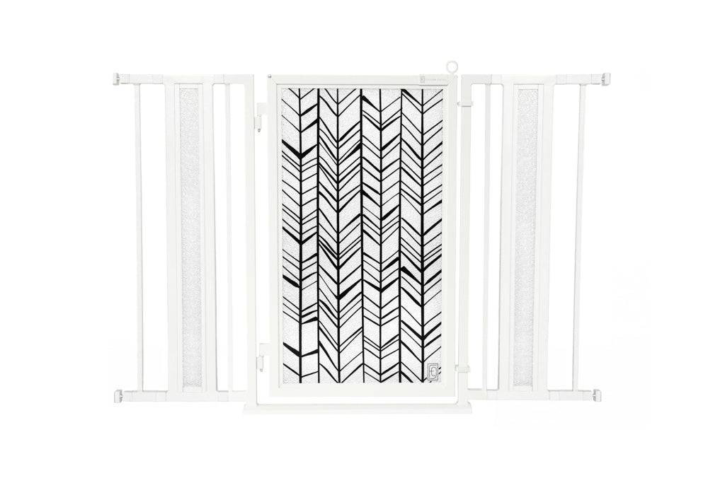 "36"" - 52"" Chevron Trail Fusion Gates, White Pearl Finish"