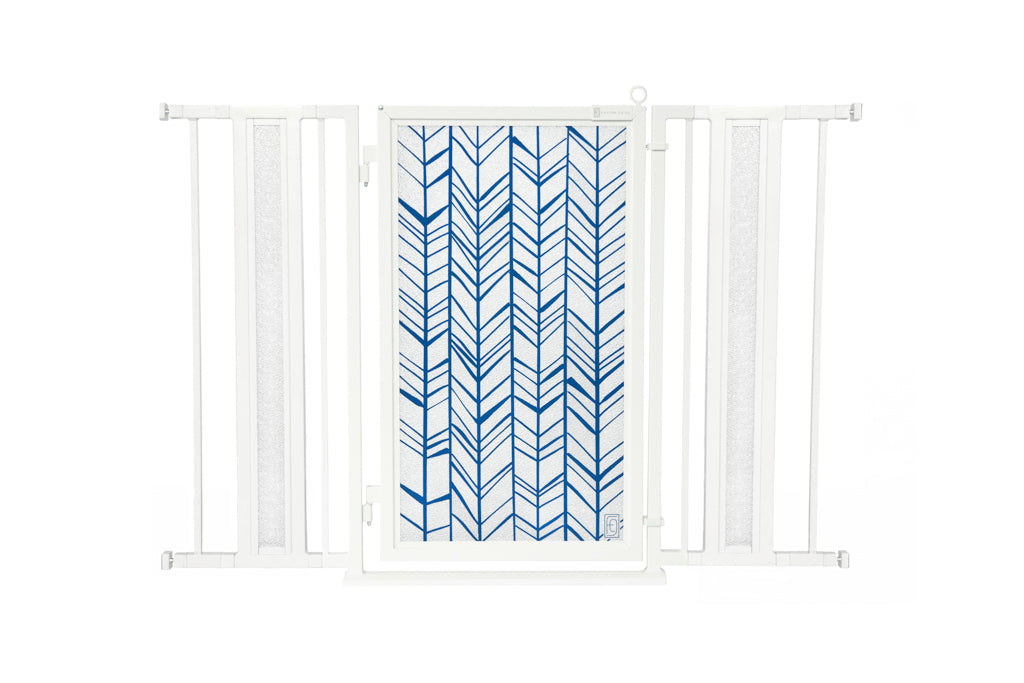 "36"" - 52"" Chevron Trail in Blue Fusion Gate, White Pearl Finish"