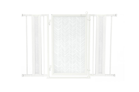 "36"" - 52"" Greek Key Fusion Gate, White Pearl Finish"