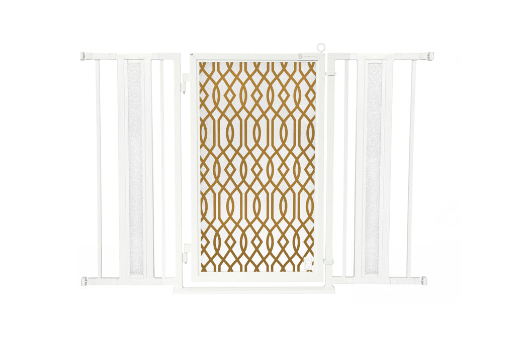 "36"" - 52"" Gold Lattice Fusion Gates, White Pearl Finish"