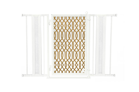 "36"" - 52"" Greek Key Fusion Gate, Satin Nickel Finish"