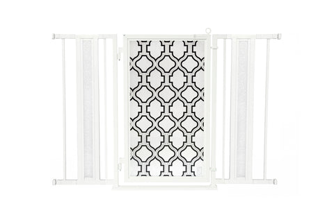 "36"" - 52"" Trellis Fusion Gate, White Pearl Finish"