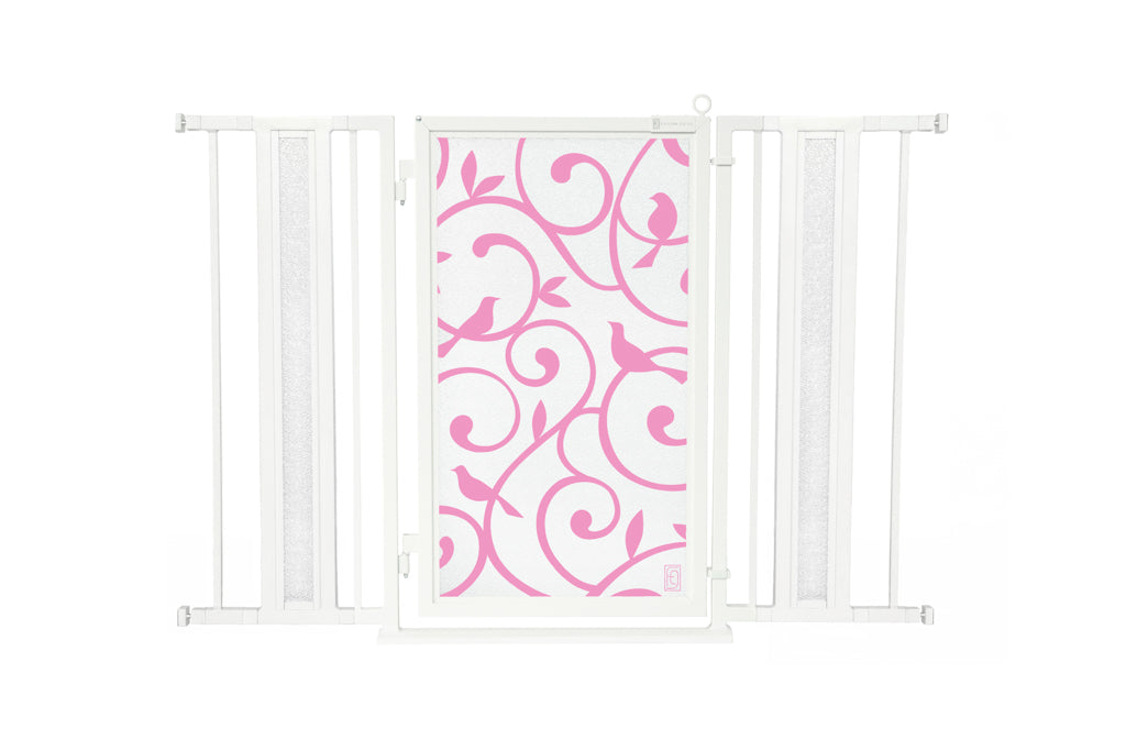 "36"" - 52"" Songbirds in Pink Fusion Gates, White Pearl Finish"