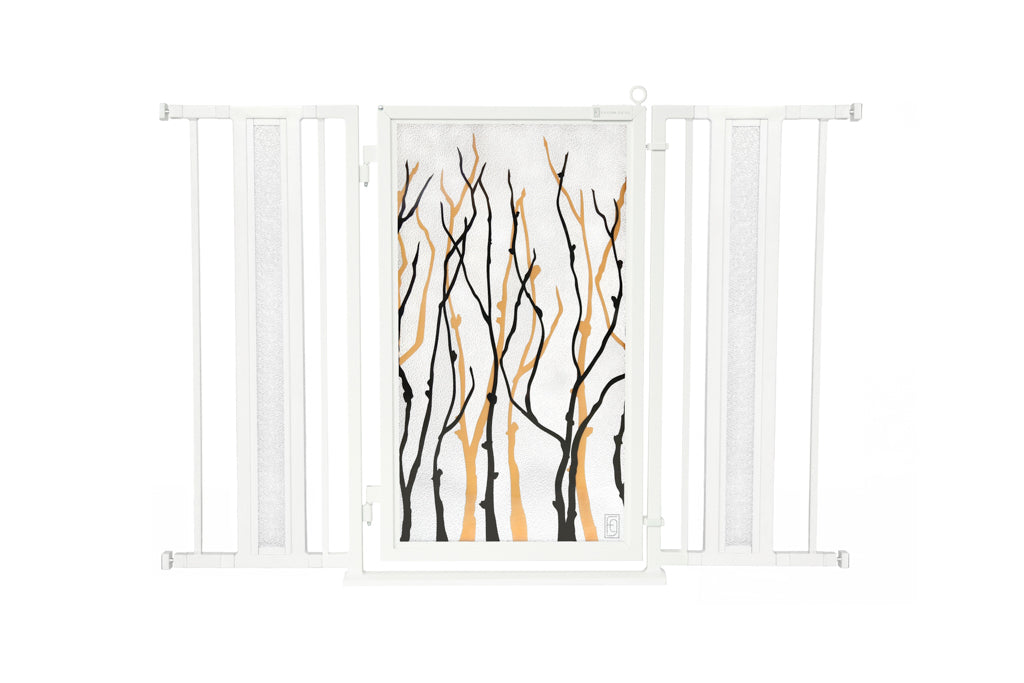 "36"" - 52"" Willow Branches Fusion Gate, White Pearl Finish"