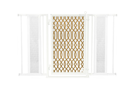 "52"" - 60"" Gold Lattice Fusion Gate, White Pearl Finish"
