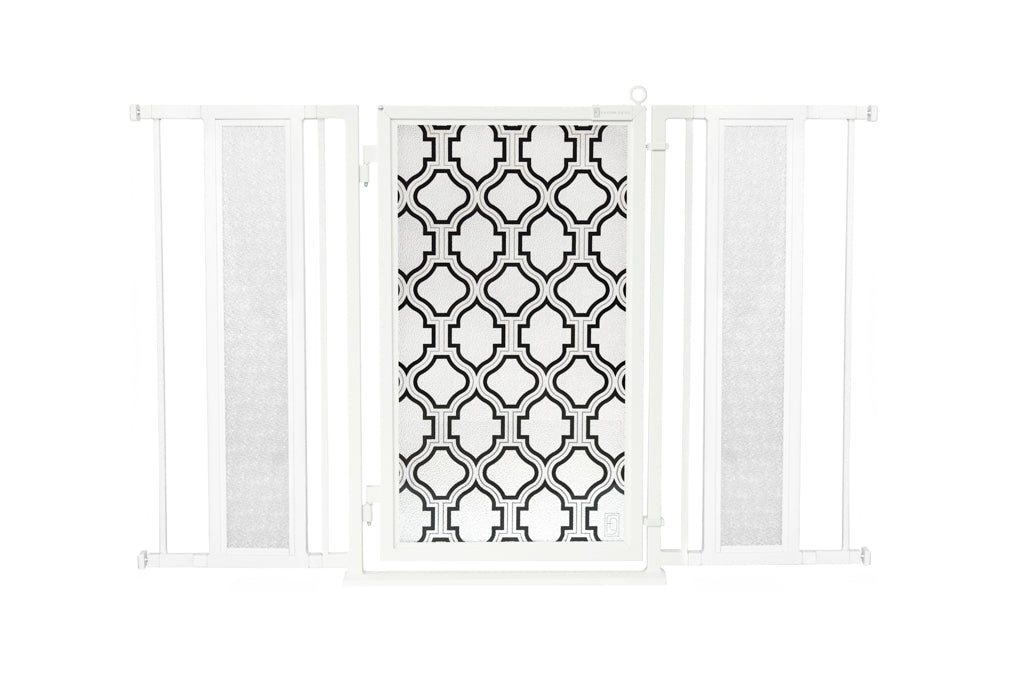 "52"" - 60"" Trellis Fusion Gate, White Pearl Finish"