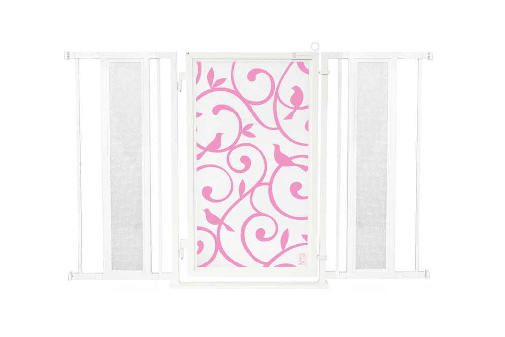 "52"" - 60"" Songbirds in Pink Fusion Gate, White Pearl Finish"