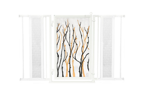 "52"" - 60"" Willow Branches Fusion Gate, White Pearl Finish"