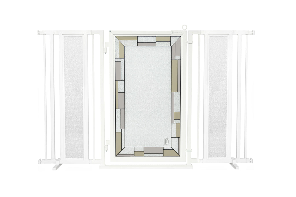 "60"" - 65"" Bauhaus Border Fusion Gate, White Pearl Finish"
